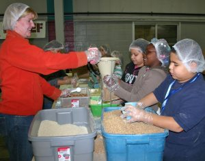 Packing relief boxes for Pakistan in 2010