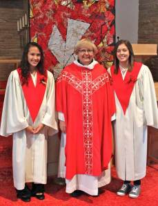 Pastor Mary with Selina and Abby